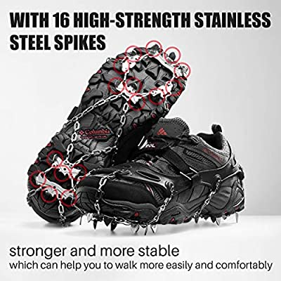 ETROL Ice Grip Snow Cleats Footwear Crampons for Women Men Kids Anti Slip 16 Stainless Steel Spikes Safe Protect for Hiking Fishing Walking Climbing Jogging Mountaineering