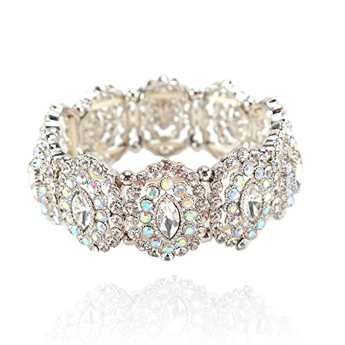SP Sophia Collection Women's Marquise Austrian Crystal Halo Cuff Wide Bangle Stretch Rhinestone Bracelet in Silver