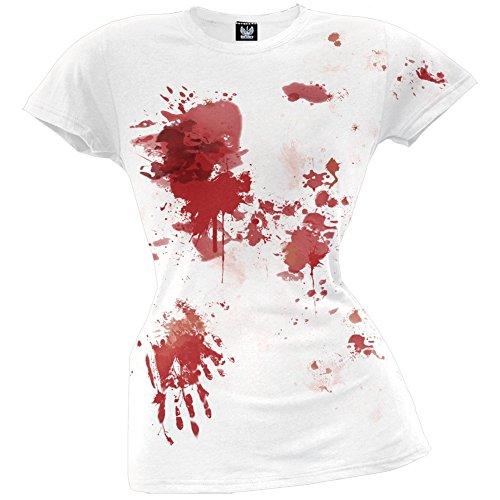 White T Shirt Halloween Blood (Old Glory Blood Splatter Juniors T-Shirt - X-Large)