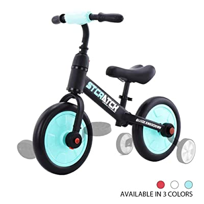 ZavoFly Balance Bike for 1-5 Years Old Boys & Girls, 4-in-1 Kids Tricycle with Training Wheels & Pedals (Sky Blue): Sports & Outdoors