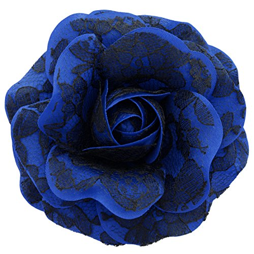 Sara monica hair flower clip and brooch pin black lace for How are blue roses made