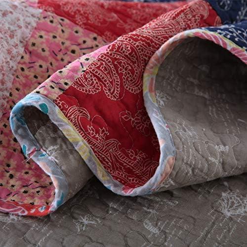 Qucover Couvre Lit Matelass/é Couverture Patchwork Courtepointe en Coton 100/% Nordique Parure de Lit Climatisation Couette Traditionnel boutis 3 Pi/èces 2 Personnes
