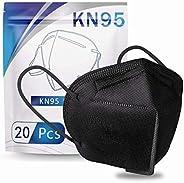 20Pcs Black Disposable K-N-(95)__Face_Masks, Adult 5-Layer CE Certified Filtеr Face_Masks, Filtration Efficien