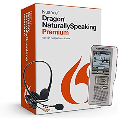 Nuance Dragon Naturally Speaking Premium Version 13 Speech Recognition Software with Olympus Expandable 2 GB Digital Voice Recorder