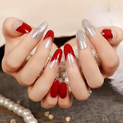 24 unidades de puntas de uñas artificiales largas color rojo oscuro con purpurina decoraciones redondas falsas