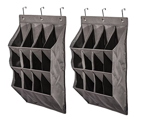 STORAGE MANIAC 12-Pocket Over The Door Hanging Organizer, Large Pocket Hanging Shelf, Gary, 2-Pack by STORAGE MANIAC