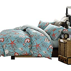 Brandream Luxury Nautical Bedding Blue Beach Themed 3-Piece 100% Egyptian Cotton 800 Thread Count Duvet Cover Set Queen Size(Sheets Sold Separately)