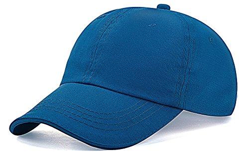 Old Style Baseball Cap - Unisex Kids Baseball Cap Hat Plain Washed Low Profile Cotton (Blue)