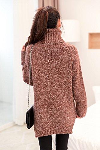 lunga Collo Donna Maglieria maglia Pullover Chunky Manica Maglioni Asimmetrico alto Sweater Maglione Caffè a Tops LvRao EpxaqRE