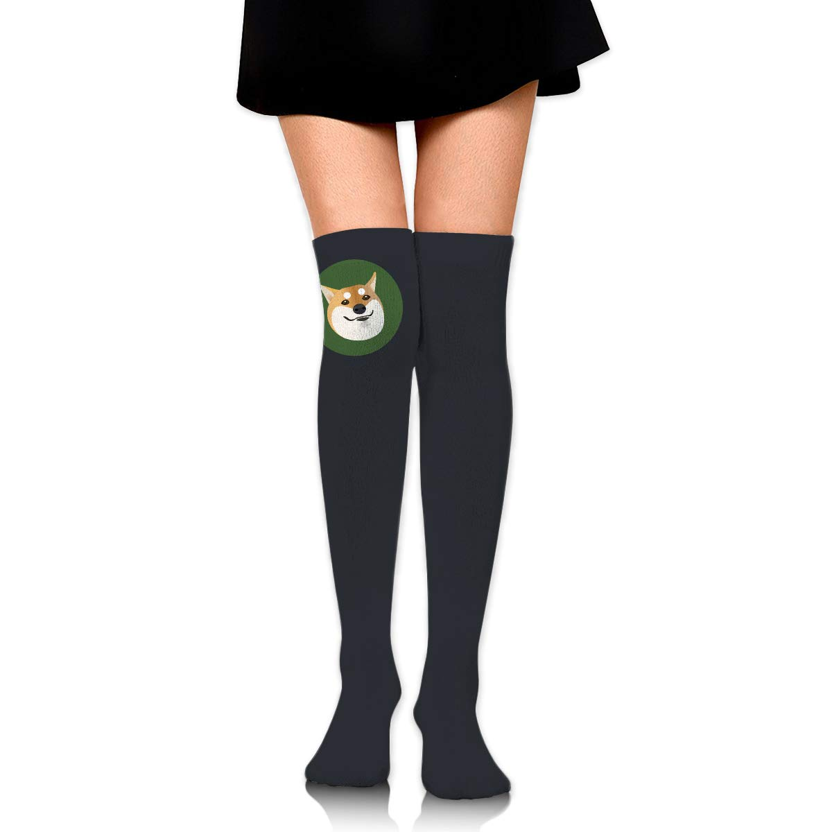Shiba Inu Logo Long Tight Thigh High Socks Over The Knee High Boot Stockings Leg Warmers