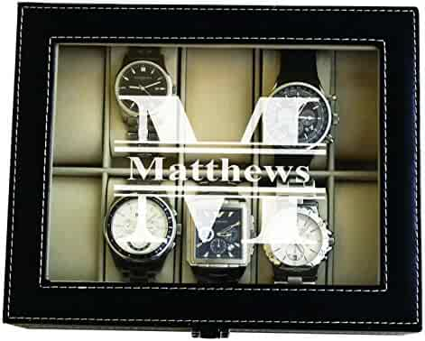 Custom Personalized Black Watch Storage Box Case - Name Initial - Groomsmen Fathers Day Gift - Engraved
