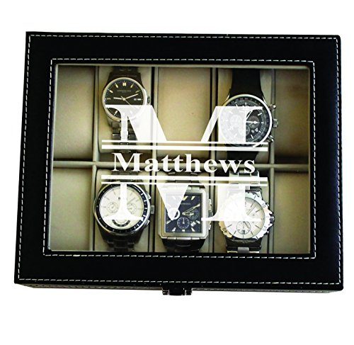 Custom Personalized Black Watch Storage Box Case - Name Initial - Groomsmen Fathers Day Gift - Engraved ()