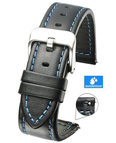 Genuine Waterproof Leather Watch Band with Quick Release Spring Bars - Black Leather Watch Strap 22mm - Blue Stitching