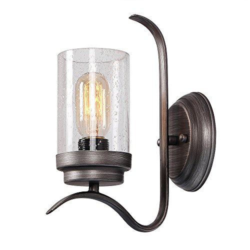 (Eumyviv 17704 1-Light Industrial Metal Decorative Wall Light Fixture with Glass Shade Vintage Edison Wall Lamp Retro Rustic Wall Sconces Light)