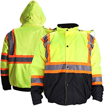 Fonirra High Visibility Safety Bomber Jacket For Men With Quilted Lining Ansi Class 3 Winter Waterproof Work Jacket Hoodie With Black Bottom Yellow 3xl Amazon Com