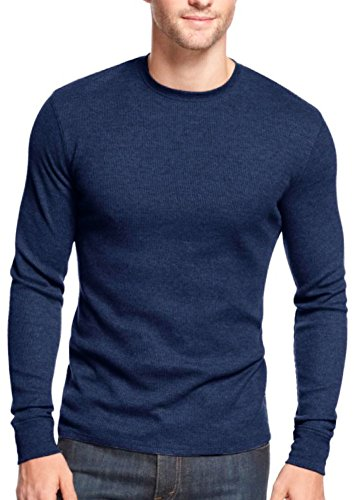 ToBeInStyle Men's Heavy Thermal Shirt - Navy - Large (Blue Thermal Shirt)