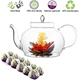 Blooming Flower Tea Set 45 Oz Glass Teapot Includes 12 Tea Blooms
