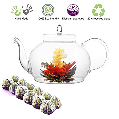 Flower Iced Tea - Tea Beyond Tea Gift Blooming Flower Tea Gift Set 45 Oz / 1330 ml Glass Tea Pot and Fab Flowering Tea 12 Tea flower Iced Or Hot Loose Leaf Green Tea