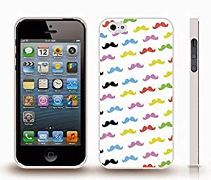 iStar Cases? iPhone 4 Case with Colorful Mustaches Background Design , Snap-on Cover, Hard Carrying Case (White)