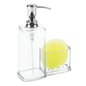 interdesign vella soap dispenser pump and sponge caddy organizer for kitchen countertops clear - Soap Dispenser Pumps