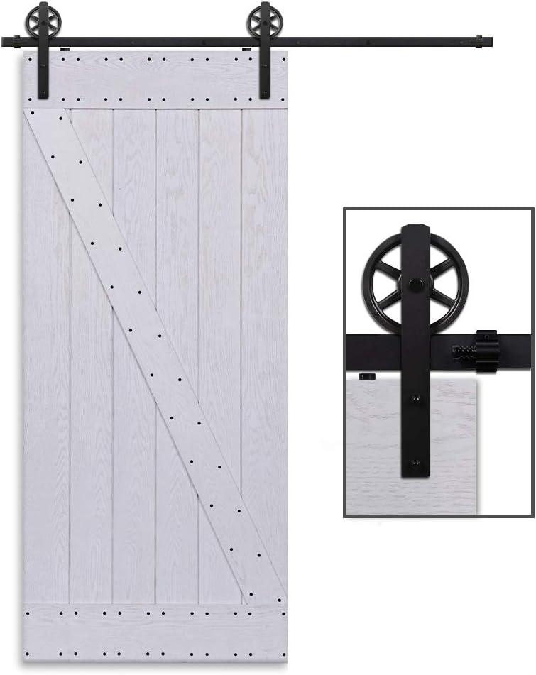 Herraje Puerta Corredera 183cm/6ft Negro, CCJH Riel Puerta Corredera Armario, Adecuado para 1 Puerta de 92 cm de Ancho [I Shape Big Wheel Hanger]: Amazon.es: Bricolaje y herramientas