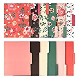 12 Pack Decorative Assorted File Folder Set – 6 Floral Designs and 6 Solid Colors - Letter Size with ½ Inch Cut Top Memory Tab -  File Filing Organizers - 9.5 x 11.5 Inches