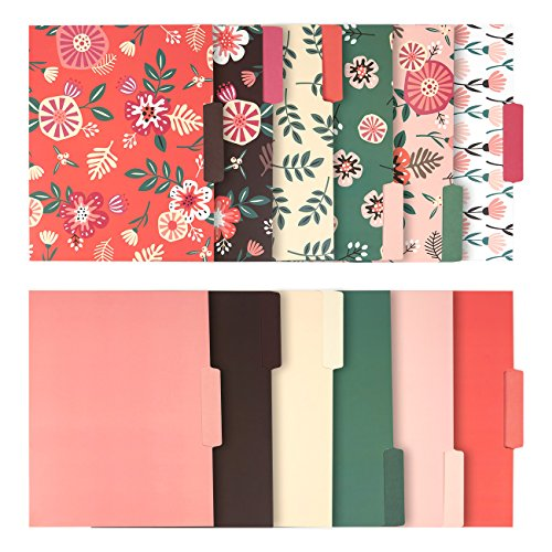 Design Folder - 12 Pack Decorative Assorted File Folder Set – 6 Floral Designs and 6 Solid Colors - Letter Size with ½ Inch Cut Top Memory Tab -  File Filing Organizers - 9.5 x 11.5 Inches