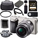 Sony ILCE6000L/S Alpha a6000 Mirrorless Digital Camera with 16-50mm Lens (Silver) + NP-FW50 Lithium Ion Battery + Sony 64GB SDXC Card + HDMI Cable + Carrying Case + Remote + Memory Card Wallet Bundle