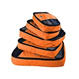 GOX Ultra Light 5 piece Packing Cubes Travel Luggage Organizers With Laundry Bag 1 Large 2 Medium 2 Small (Orange)