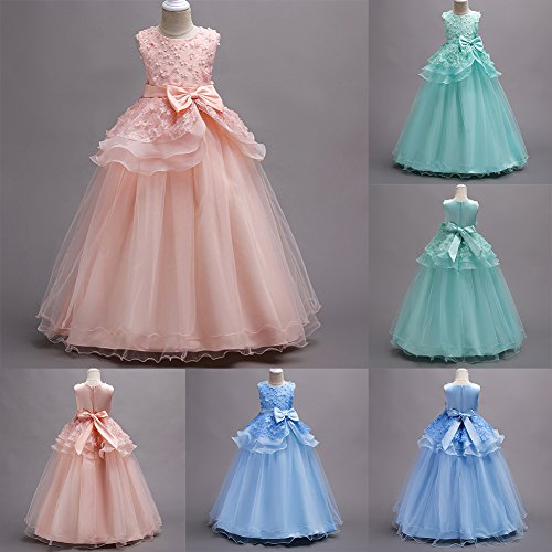 IBTOM CASTLE Little Big Girl Tulle Embroidery Princess Lace Dress for Kids Flower Party Fall Long Evening Dance Ball Gown