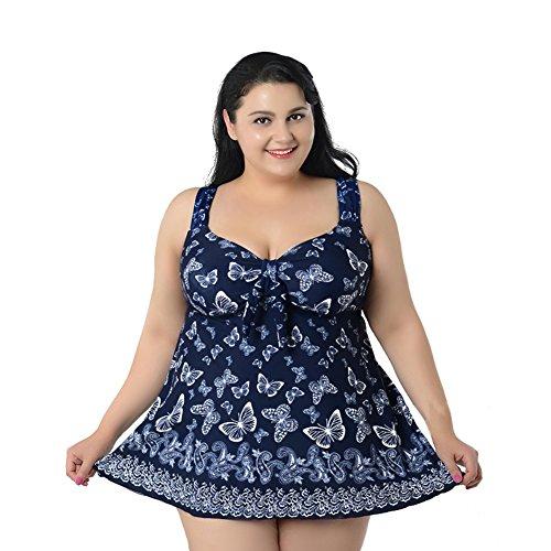 Smartcoco Plus Size Women One-Piece-Skirt Style Swimsuit Summer Beach Surfing Navy blue 7XL