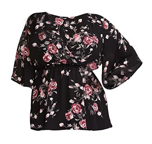 Noah & Paris Women's Plus Size Faux Wrap Georgette Babydoll Blouse 2X (18-20) Floral