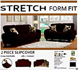 Orly's Dream 2 pcs Stretch Form Fit Slipcovers Set, Couch/Sofa And Loveseat Cover (Chocolate Brown)