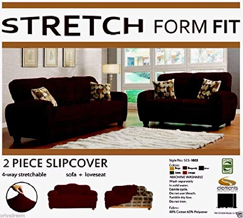 Orly's Dream 2 pcs Stretch Form Fit Slipcovers Set, Couch/Sofa And Loveseat Cover (Chocolate Brown) ()