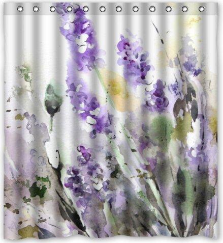 Cool design Purple Lavender Flower Shower Curtain 66