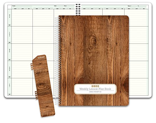 Elan Clip (HARDCOVER 6 Period Teacher Lesson Plan; Days Vertically Down the Side (W202) (+) Bonus Clip-in Bookmark (Woodgrain))