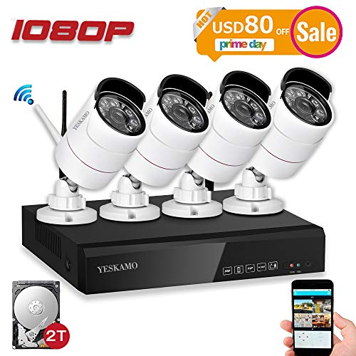 Security Camera System Outdoor YESKAMO Wireless Home Security Camera System 1080P 4 Channel Full HD 2.0 Megapixel IP Cameras CCTV Video Surveillance Cameras Systems with 2TB Hard Drive (Best Home Security Companies 2019)