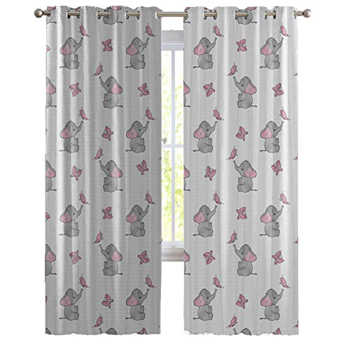 Yicustom Elephant Nursery Decor Curtains, Baby Elephants Playing with Butterflies Lovely Kids Room, Living Room Bedroom Window Drapes 2 Panel Set,96W x 84L Inch, Grey Light Pink ()