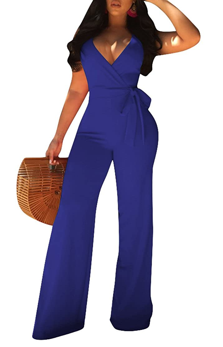 0a27efc91890 Amazon.com  Pollycharm Women s Wide Leg Jumpsuits Sexy Halter V Neck Sleeveless  Jumpsuit Rompers  Clothing