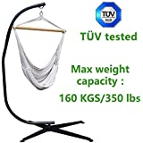 T #220;V tested Zupapa Heavy Durable Steel C Hammock Frame Stand with 100% Cotton Hammock Swing Chai