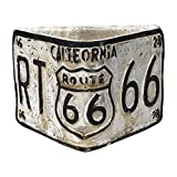 Rustic Route 66 Triangular Planters, Vintage Style Route 66 License Plate Design, Set of Two (White)