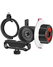 Neewer Follow Focus with Gear Ring Belt for Canon Nikon Sony and Other DSLR Camera Camcorder DV Video Fits 15mm Rod Film Making System,Shoulder Support,Stabilizer,Movie Rig(Red+Black)
