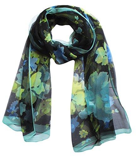 Womens 100% Silk Great Nature Pattern Scarf (Seaplants-LightBlue)