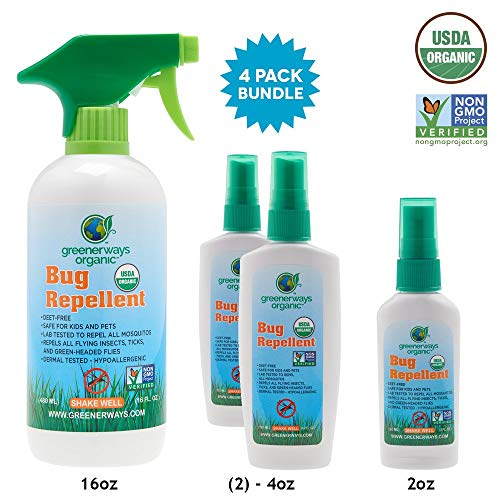 GREENERWAYS ORGANIC Insect Repellent Variety Pack, (1) 2oz (2) 4oz (1) 16oz - ()