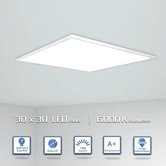 OUBO LED Panel 30x30cm Kaltweiß 6000K quadratisch 18W LED Wandleuchte  Deckenleuchte für Labors, Küche, Badezimmer, Hobbyräume, Schulungsräume,  Ersetzt ...