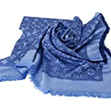 Designer Inspired Monogram Denim Shawl in Sky Aqua Blue Scarf -Wrap Imitation Replica Luxurious High End Quality Fabric Fashion Accessory Large Cashmere-Silk Blend Classic Print Made in USA Women's