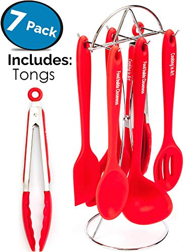 LVKH Silicone Kitchen Utensil Set 7-Piece - Including Tongs and Stand - ()