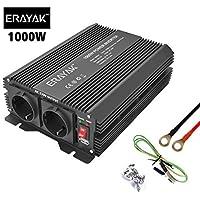ERAYAK Inversor de Corriente 1000W (Pico 2000W), Convertidor, Transformador, 12v 220v Inverter, Con Puerto USB Con 2 AC…
