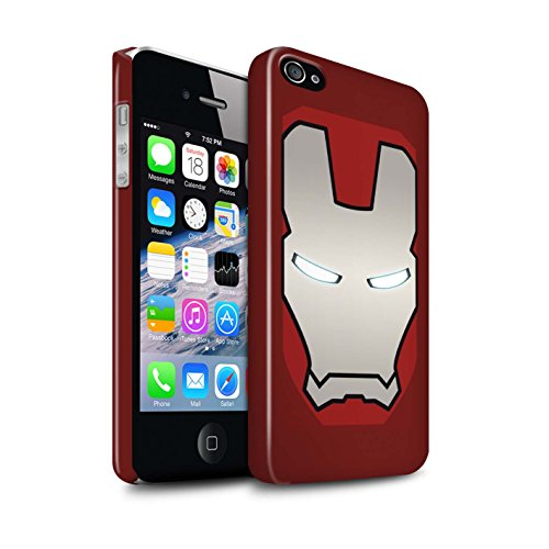 4s Hard Back Case - STUFF4 Gloss Hard Back Snap-On Phone Case for Apple iPhone 4/4S / Red/Silver Robot Design/Super Hero Helmet Collection