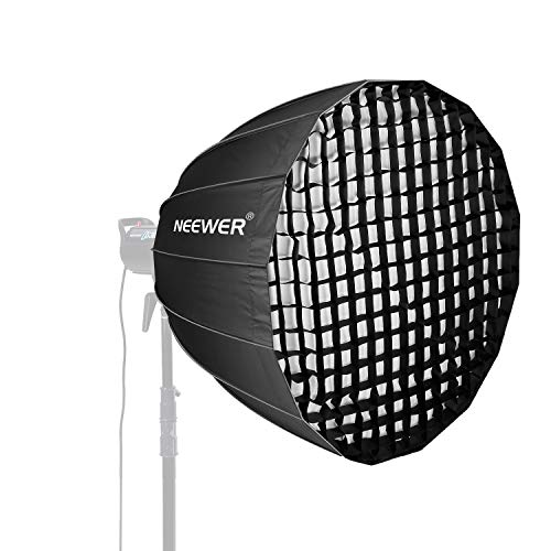 (Neewer 48 inches Deep Parabolic Softbox with Bowens Mount, Removable Internal&External Diffuser and Grid, Quick Folding Softbox Diffuser for Photography Speedlites Flash Monolight and More)